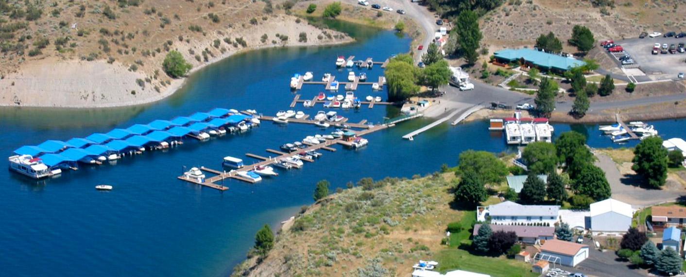 Aerial Shot of Seven Bays Marina | Rates | Plan Your Trip | Lake Roosevelt Adventures